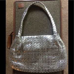 ELLIOTT LUCCA SILVER WOVEN BRAIDED LEATHER PURSE